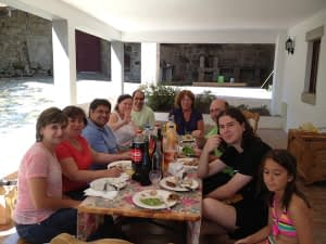 Eating lunch around the table