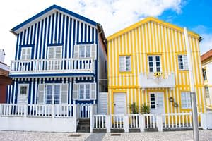 The colourful houses in Costa Nova
